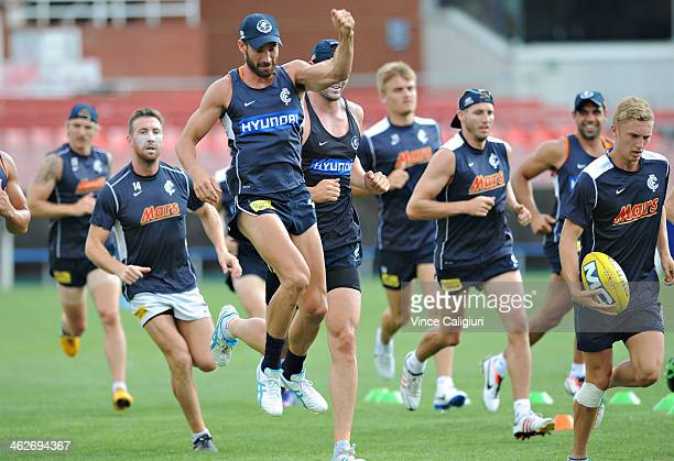 Andrew Walker of the blues warming up before a Carlton Blues AFL preseason training session at Visy Park on January 15 2014 in Melbourne Australia