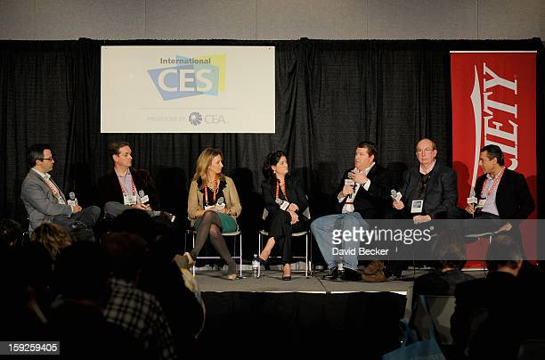 Andrew Wallenstein Ross Honey Tonia O'Connor Joan Hogan Gillman David Rudnick Tom Engdahl and Ian Aaron appear onstage during Variety Entertainment...