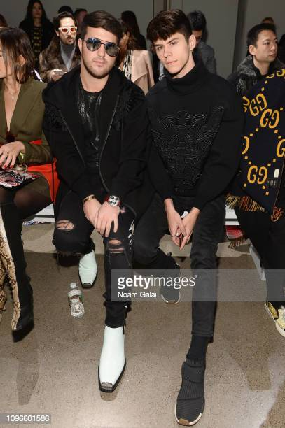 Andrew Warren and Jackson Krecioch attend the Taoray Wang front row during New York Fashion Week The Shows at Gallery II at Spring Studios on...
