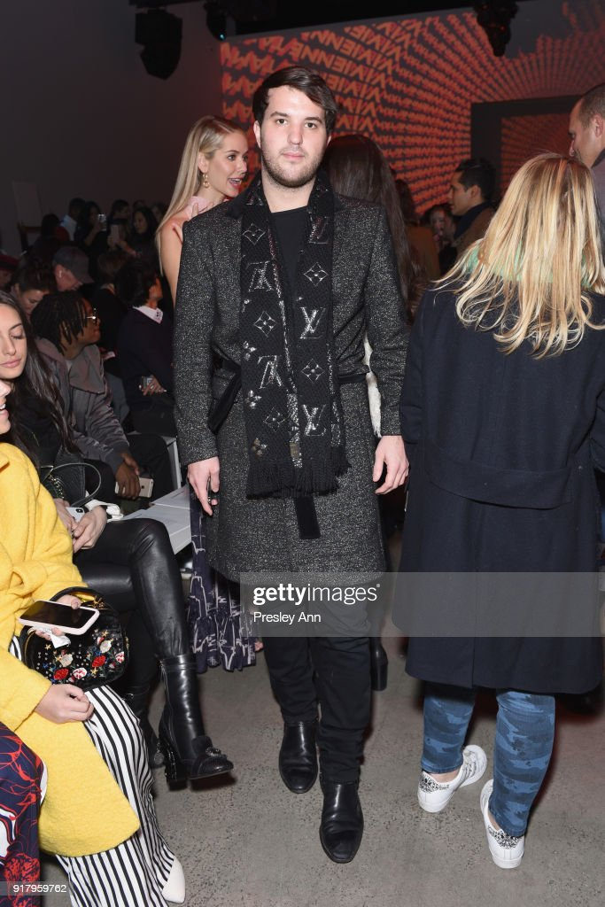 Andrew Warren attends the Vivienne Tam front row during New York Fashion Week at Spring Studios on February 13, 2018 in New York City.