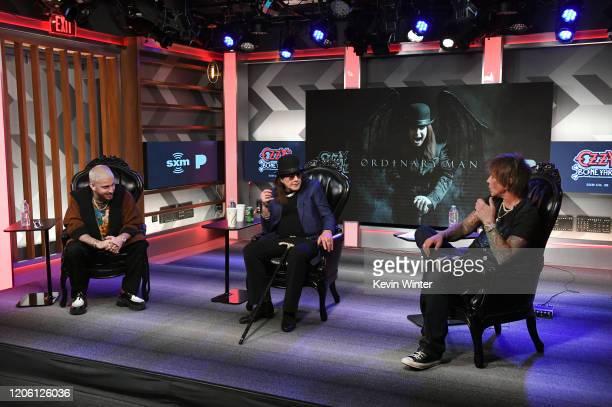 Andrew Watt, Ozzy Osbourne and Billy Morrison speak onstage at the Ozzy Osbourne Album Special on SiriusXM's Ozzy's Boneyard Chanel at the SiriusXM...