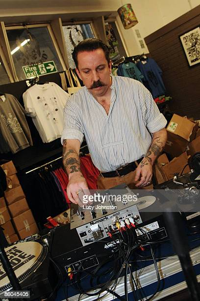 Andrew Weatherall DJing in store at Rough Trade East record shop on April 18 2009 in London England