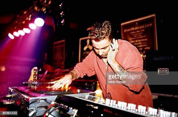 DJ Andrew Weatherall performs on stage with Sabresonic London 1994