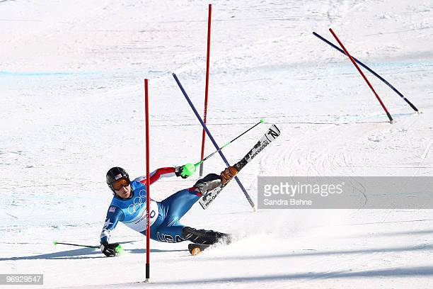 Andrew Weibrecht of the United States crashes during the Alpine Skiing Men's Super Combined Slalom on day 10 of the Vancouver 2010 Winter Olympics at...