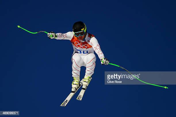 Andrew Weibrecht of the United States in action during a training session for the Alpine Skiing Men's Super Combined Downhill on day 6 of the Sochi...