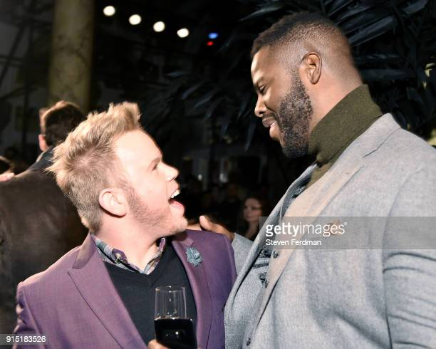 Andrew Werner and Winston Duke attend the Joseph Abboud Men's Fashion Show during New York Fashion Week Mens' at Hotel Wolcott Ballroom on February 6...