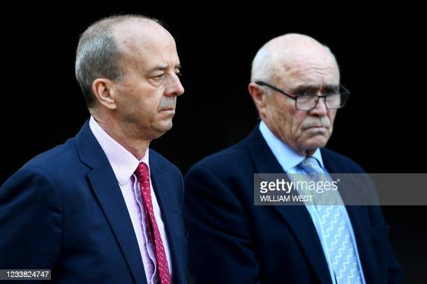 Andrew Westacott , chief executive officer of the Australian Grand Prix Corporation, and chairman Paul Little listen to the announcement of the...