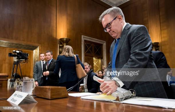Andrew Wheeler acting administrator at the Environmental Protection Agency prepares to testify during the Senate Committee on Environment and Public...