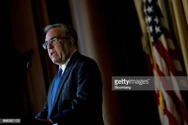 Andrew Wheeler acting administrator of the Environmental Protection Agency speaks to employees at the agency's headquarters in Washington DC US on...