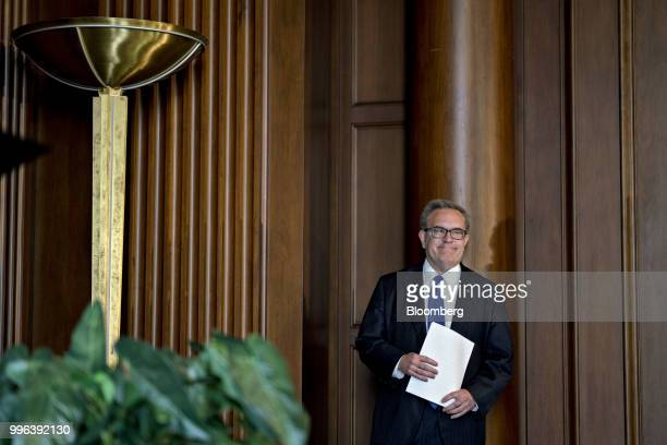 Andrew Wheeler acting administrator of the Environmental Protection Agency waits to speak to employees at the agency's headquarters in Washington DC...