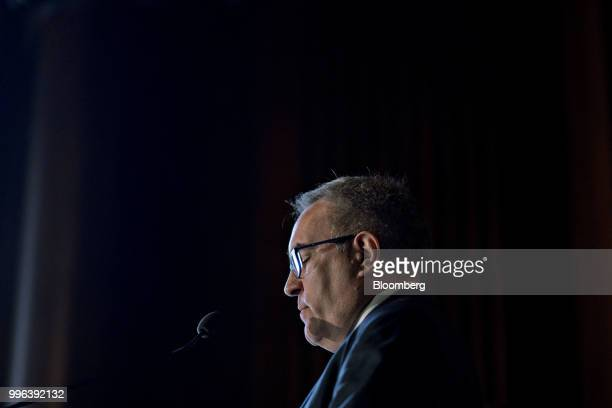 Andrew Wheeler acting administrator of the Environmental Protection Agency pauses while speaking to employees at the agency's headquarters in...