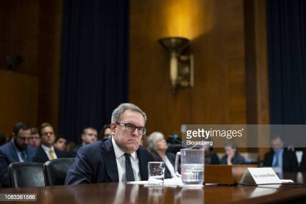 Andrew Wheeler administrator of the Environmental Protection Agency nominee for US President Donald Trump listens during a Senate Environment and...