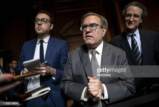 Andrew Wheeler, administrator of the U.S. Environmental Protection Agency , speaks to members of the media after signing the Affordable Clean Energy...