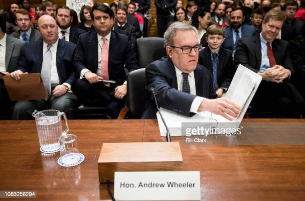 Andrew Wheeler nominee to be administrator of the Environmental Protection Agency arrives for his confirmation hearing in the Senate Environment and...