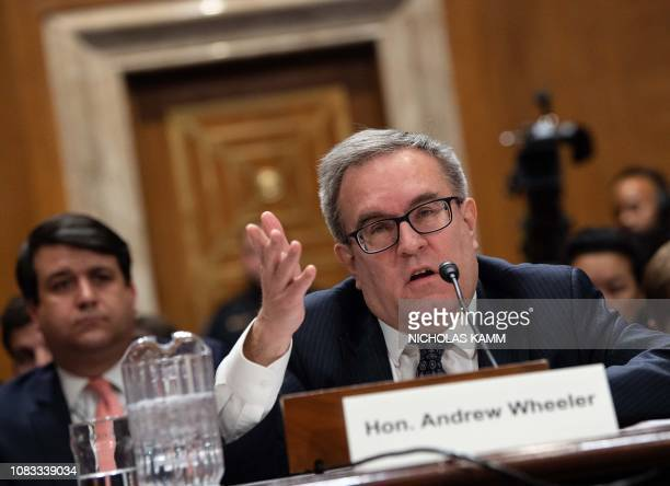 Andrew Wheeler nominee to be Environmental Protection Agency admistrator testifies before the Senate Environment and Public Works Committee during a...