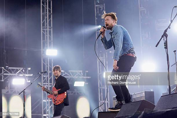 Andrew White and Rick Wilson of the Kaiser Chiefs perform live during 'MTV Crashes Coventry' at Ricoh Arena on May 27 2016 in Coventry England