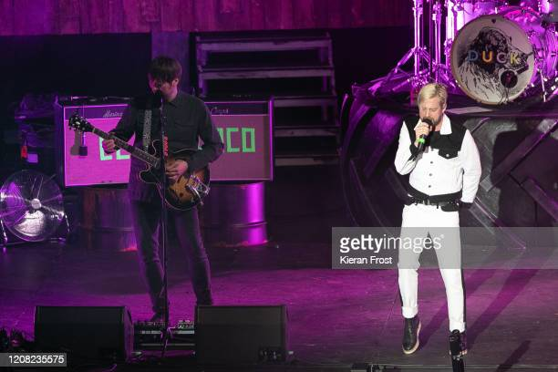 Andrew White and Ricky Wilson of Kaiser Chiefs perform at 3Arena Dublin on February 23, 2020 in Dublin, Dublin.