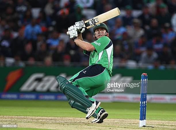 Andrew White of Ireland hits out during the ICC World Twenty20 match between Ireland and India at Trent Bridge on June 10 2009 in Nottingham England