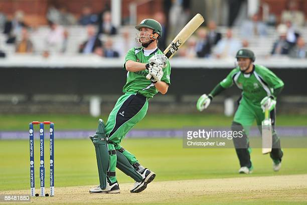 Andrew White of Ireland hits out during the ICC World Twenty20 Super Eights match between Ireland and Sri Lanka at Lord's on June 14 2009 in London...