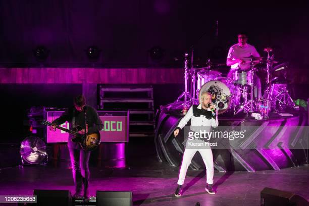 Andrew White, Ricky Wilson and Vijay Mistry of Kaiser Chiefs perform at 3Arena Dublin on February 23, 2020 in Dublin, Dublin.
