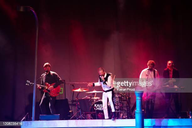 Andrew White, Ricky Wilson, Simon Rix and Nick Baines of Kaiser Chiefs perform at 3Arena Dublin on February 23, 2020 in Dublin, Dublin.