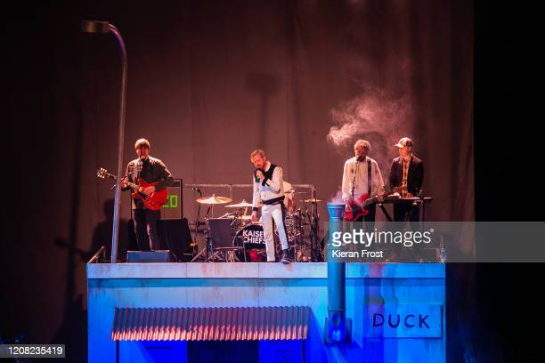 Andrew White, Ricky Wilson, Simon Rix and Nick Baines of Kaiser Chiefs perform at 3Arena Dublin on February 23, 2020 in Dublin, Dublin.