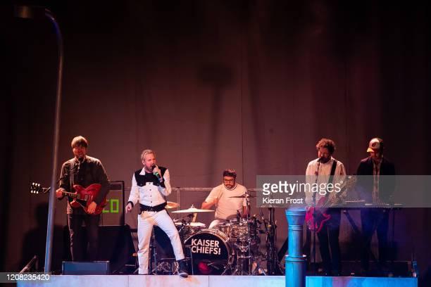 Andrew White, Ricky Wilson, Vijay Mistry, Simon Rix and Nick Baines of Kaiser Chiefs perform at 3Arena Dublin on February 23, 2020 in Dublin, Dublin.