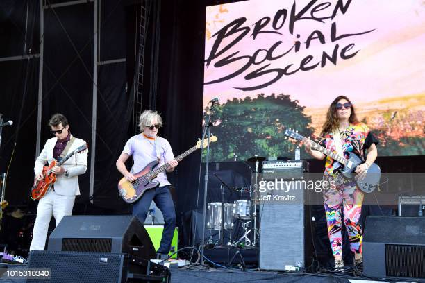 Andrew Whiteman Brendan Canning and Ariel Engle of Broken Social Scene perform on the Lands End Stage during the 2018 Outside Lands Music And Arts...