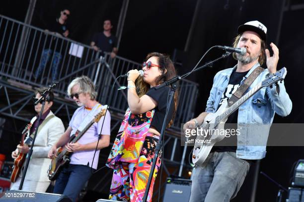 Andrew Whiteman Brendan Canning Ariel Engle and Kevin Drew of Broken Social Scene perform on the Lands End Stage during the 2018 Outside Lands Music...