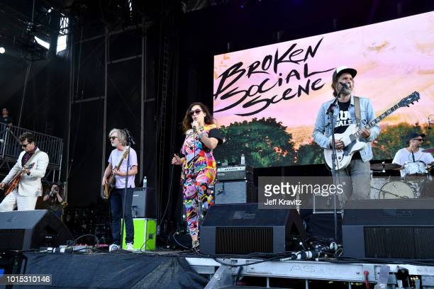 Andrew Whiteman Brendan Canning Ariel Engle Kevin Drew and Justin Peroff of Broken Social Scene perform on the Lands End Stage during the 2018...