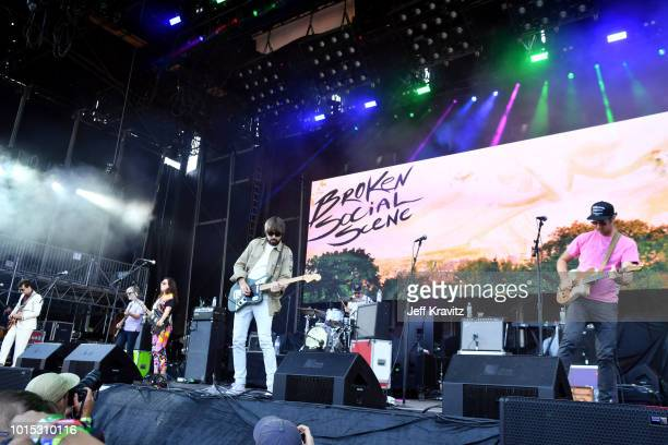 Andrew Whiteman Brendan Canning Ariel Engle Sam Goldberg Justin Peroff and Charles Spearin of Broken Social Scene perform on the Lands End Stage...