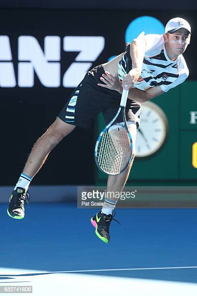 Andrew Whittington of Australia compete against Henri Kontinen of Finland and John Peers of Australia in their doubles semifinal match on day 11 of...