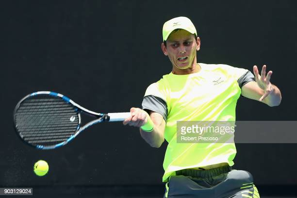 Andrew Whittington of Australia competes in his first round match against Michael Mmoh of United States during 2018 Australian Open Qualifying at...