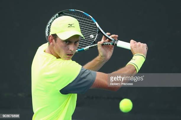 Andrew Whittington of Australia competes in his second round match against Vaclav Safranek of Czech Republic during 2018 Australian Open Qualifying...