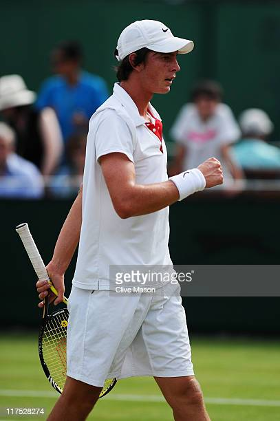 Andrew Whittington of Australia in action during his first round boy's match against Luke Bambridge of Great Britain on Day Seven of the Wimbledon...