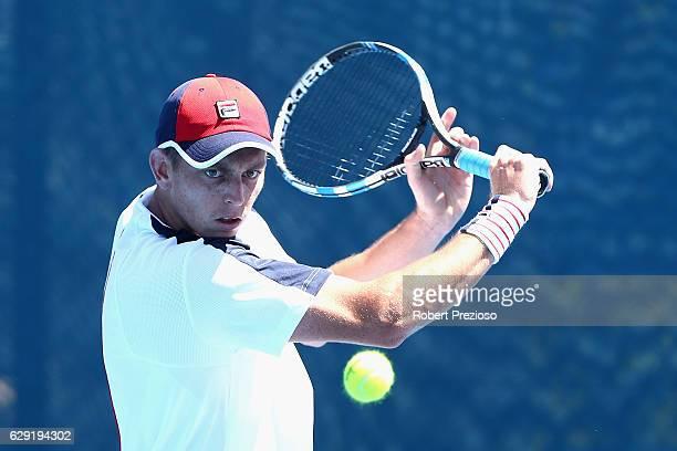 Andrew Whittington of Australia plays a backhand during the Australian Open December Showdown at Melbourne Park on December 12, 2016 in Melbourne,...