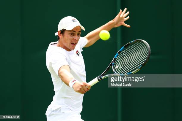 Andrew Whittington of Australia plays a backhand during the Gentlemen's Singles first round match against Thiago Monteiro of Brazil on day one of the...