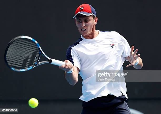 Andrew Whittington of Australia plays a forehand during his first round match against Adam Pavlasek of the Czech Republic on day two of the 2017...