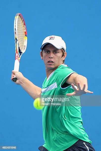 Andrew Whittington of Australia plays a forehand in his first round match against Dane Propoggia of Australia during the 2015 Australian Open play...