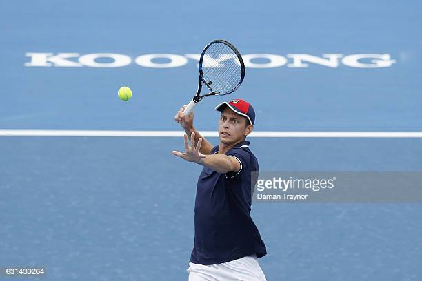 Andrew Whittington of Australia plays a forehand shot in his match against Mikhail Youzhny of Russia during day two of the 2017 Priceline Pharmacy...