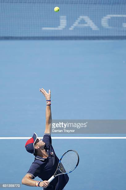 Andrew Whittington of Australia serves in his match against Borna Coric of Croatia during day one of the 2017 Priceline Pharmacy Classic at Kooyong...