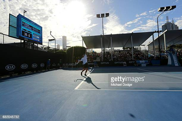 Andrew Whittington of Australia serves in his second round match against Ivo Karlovic of Croatia on day four of the 2017 Australian Open at Melbourne...