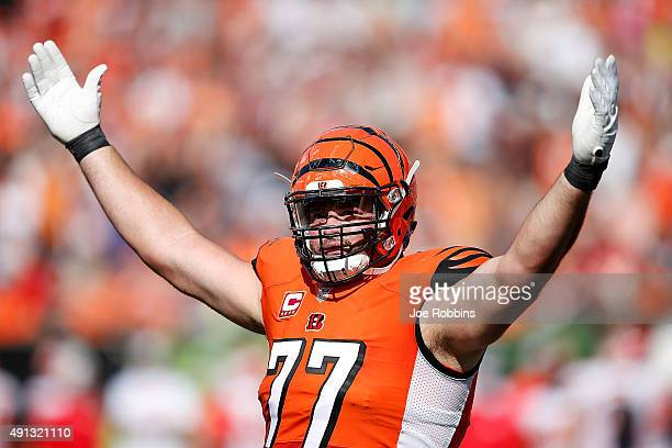 Andrew Whitworth of the Cincinnati Bengals attempts to excite the crowd during the third quarter of the game against the Kansas City Chiefs at Paul...