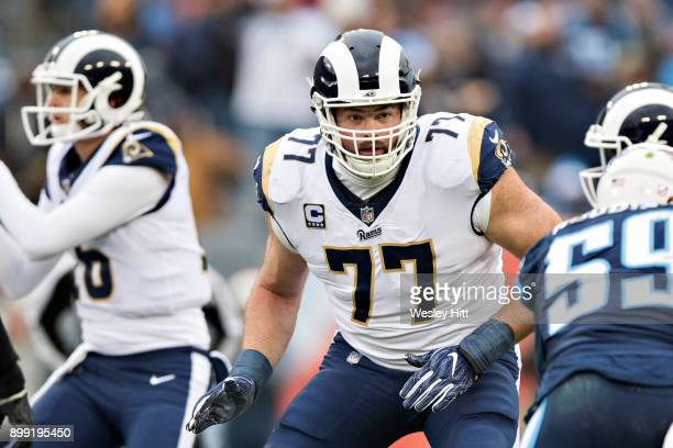 Andrew Whitworth of the Los Angeles Rams drops back to block during a game against the Tennessee Titans at Nissan Stadium on December 24, 2017 in...