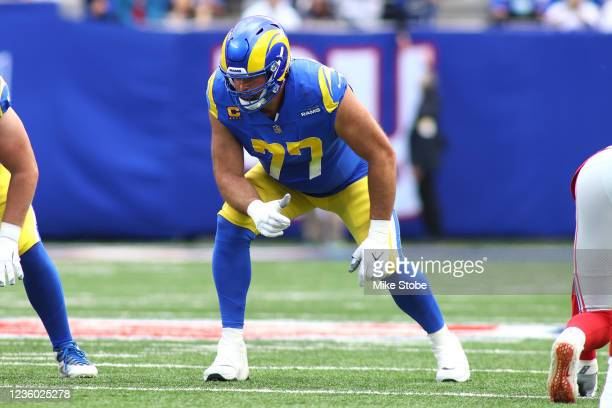 Andrew Whitworth of the Los Angeles Rams in action against the New York Giants at MetLife Stadium on October 17, 2021 in East Rutherford, New Jersey....
