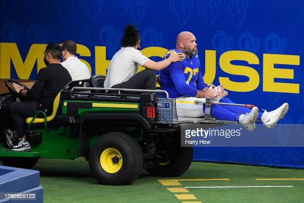 Andrew Whitworth of the Los Angeles Rams leaves the game against the Seattle Seahawks in the second quarter at SoFi Stadium on November 15, 2020 in...