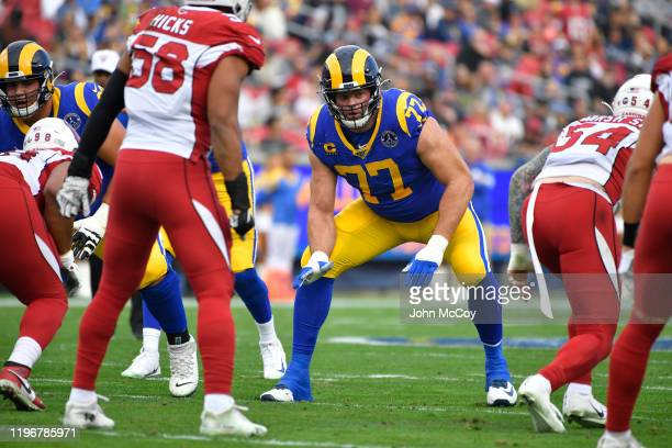 Andrew Whitworth of the Los Angeles Rams lines up against the Arizona Cardinals at Los Angeles Memorial Coliseum on December 29, 2019 in Los Angeles,...