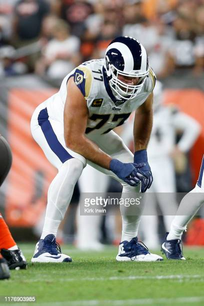 Andrew Whitworth of the Los Angeles Rams lines up for a play during the game against the Cleveland Browns at FirstEnergy Stadium on September 22,...