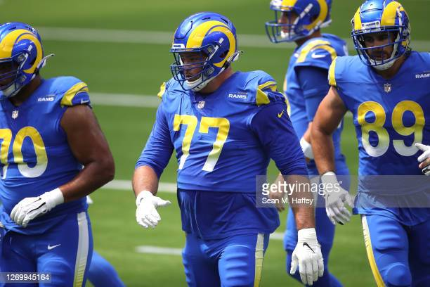 Andrew Whitworth of the Los Angeles Rams looks on during a team scrimmage at SoFi Stadium on August 29, 2020 in Inglewood, California.