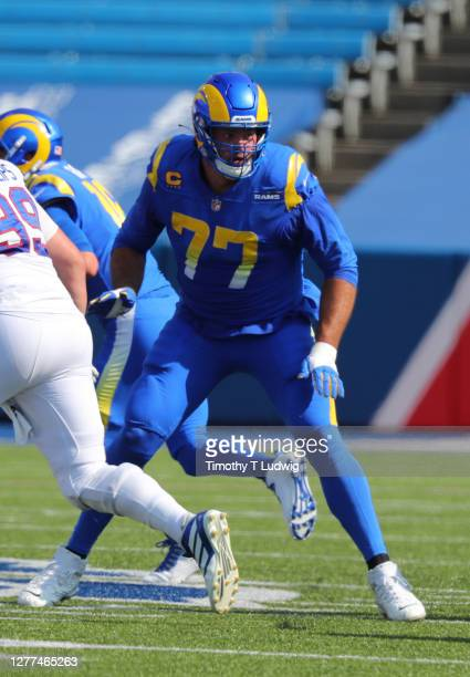 Andrew Whitworth of the Los Angeles Rams looks to make a block during a game against the Buffalo Bills at Bills Stadium on September 27, 2020 in...